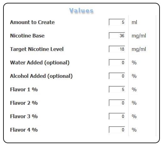 3Dmitchell eJuice Calculator