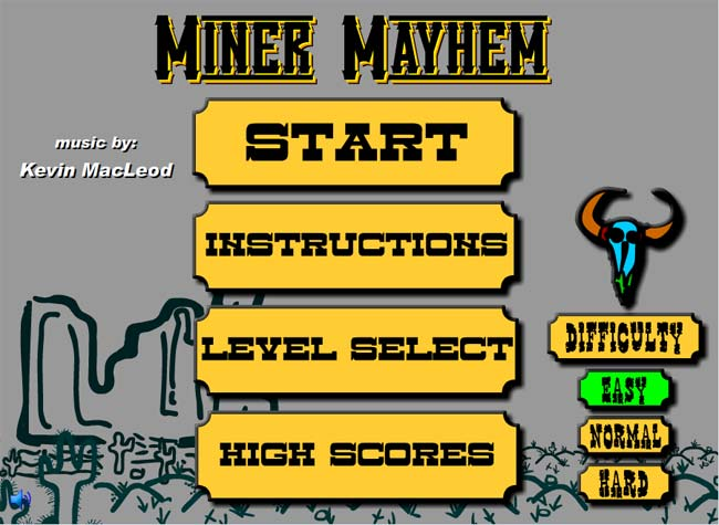 Miner Mayhem Main Game Screen